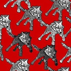 steampunk wolfpack on red