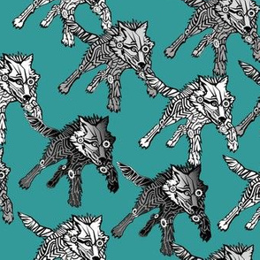 steampunk wolfpack on_teal