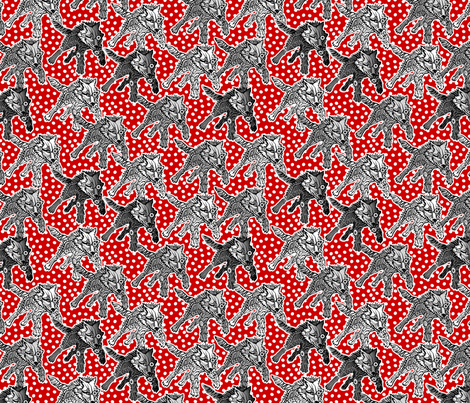 steampunk wolfpack red snow fabric by glimmericks on Spoonflower - custom fabric