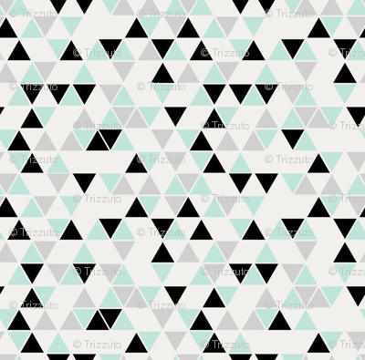 Triangles, cool mint, black and gray