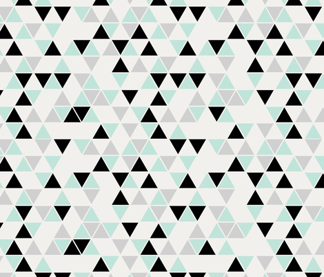 Triangles, cool mint, black and gray fabric by trizzuto on Spoonflower - custom fabric