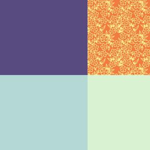 Fat Quartet Dk Blue, Mint, Blue and orange