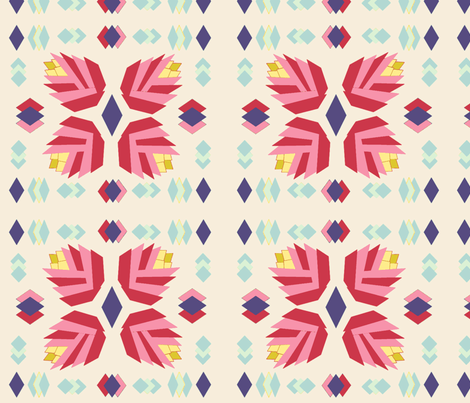 Appliqué  Tulips Cheater Quilt Block fabric by pottergal on Spoonflower - custom fabric