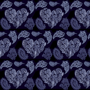 BLUE LACE PAISLEY HEARTS