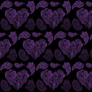 PURPLE PASSION  PAISLEY HEARTS