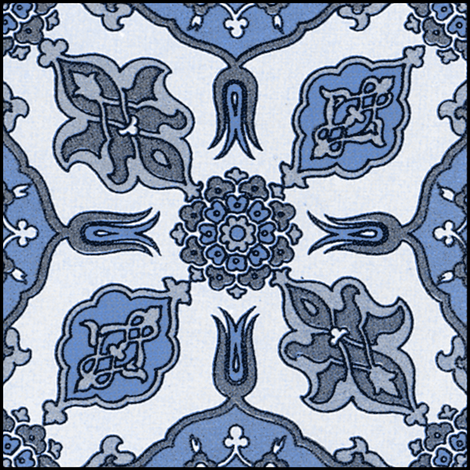Racinet Moroccan Tile ~ Blue and White fabric by peacoquettedesigns on Spoonflower - custom fabric