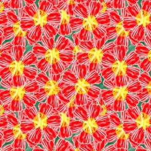"""Bright red """"painted"""" flowers on greenery"""