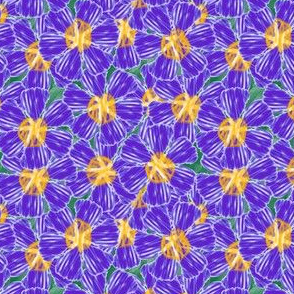 "Violet ""painted"" flowers on greenery"