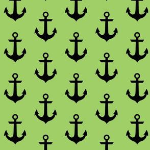 anchor - Black on grassy green