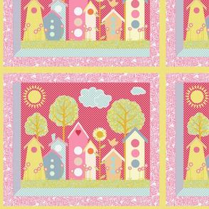 A View of the Neighborhood (a windowpane panel)