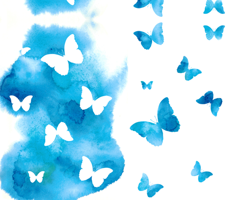 Butterfly Kaleidoscope - Turquoise fabric by caitieillustrates on Spoonflower - custom fabric
