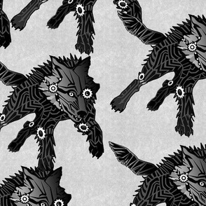 steampunk wolfpack black wolves white texture LARGE