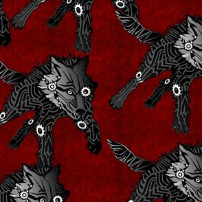 steampunk wolfpack black wolves red texture LARGE