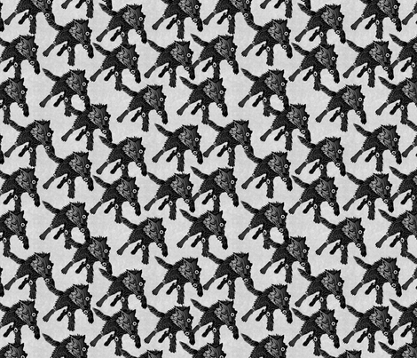 steampunk wolfpack black wolves white texture  fabric by glimmericks on Spoonflower - custom fabric