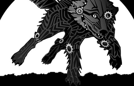 LOGO steampunk wolf BLACK WOLF 2 yards centered fabric by glimmericks on Spoonflower - custom fabric