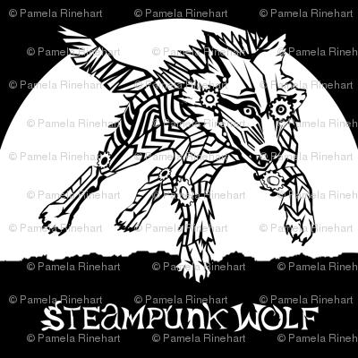 LOGO steampunk wolf WHITE WOLF 2 yards centered