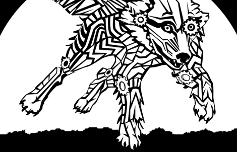LOGO steampunk wolf WHITE WOLF 2 yards centered fabric by glimmericks on Spoonflower - custom fabric