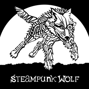 LOGO steampunk wolf WHITE WOLF 2 yards centered