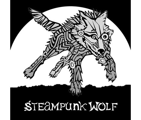 LOGO steampunk wolf GRAY WOLF 1 yards centered fabric by glimmericks on Spoonflower - custom fabric