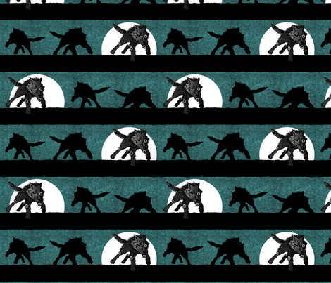 steampunk wolf running stripe teal fabric by glimmericks on Spoonflower - custom fabric