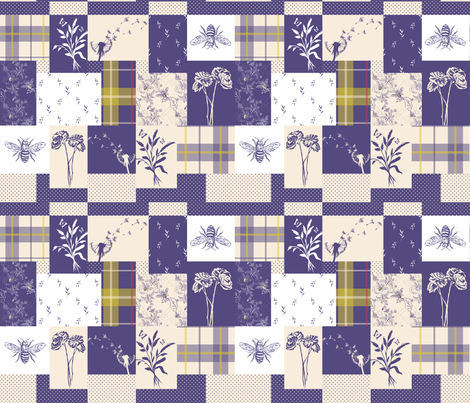 Spring Floral Cheater Quilt Block fabric by emily_s_designs on Spoonflower - custom fabric