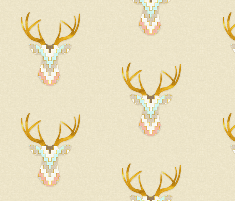 Telluride Deer in Aqua and Coral   fabric by willowlanetextiles on Spoonflower - custom fabric
