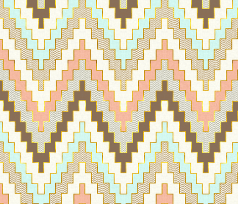 Telluride in Aqua, Coral and Gold Dust fabric by willowlanetextiles on Spoonflower - custom fabric