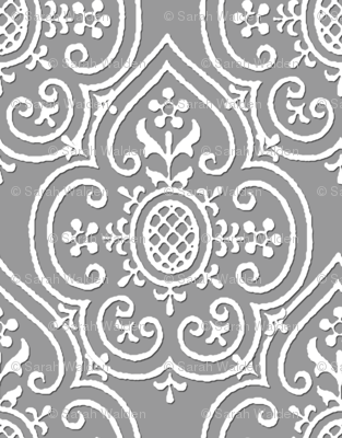 Lace Medallion ~ White on Pewter