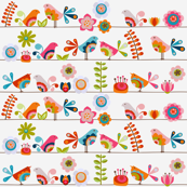 Little birds with flowers