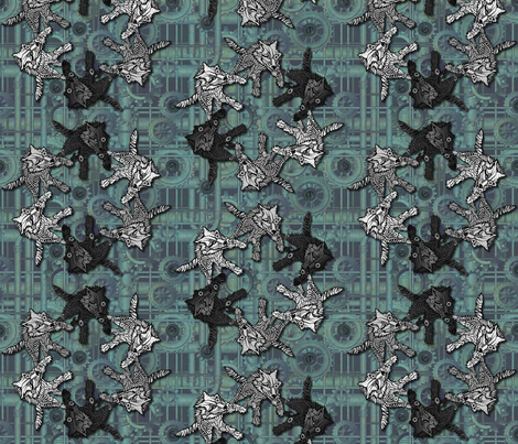 steampunk wolfpack circle pipes and gears fabric by glimmericks on Spoonflower - custom fabric