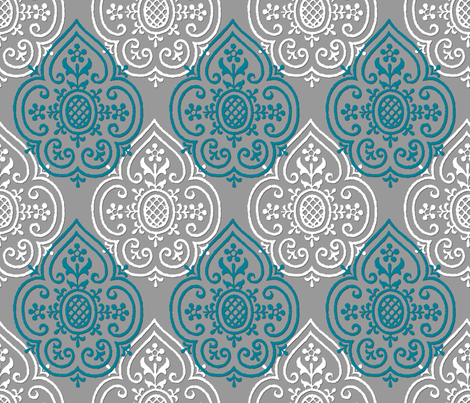 Lace Medallion ~ Vicomte and White on Pewter fabric by peacoquettedesigns on Spoonflower - custom fabric
