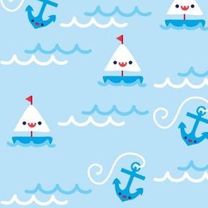 Sailboats & Anchors - Light Blue