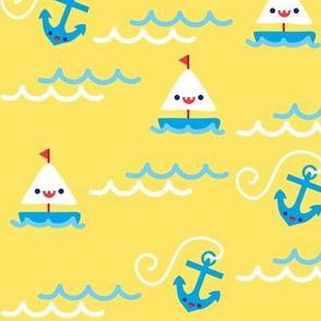 Sailboats & Anchors - Yellow