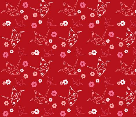 Origami Cranes - Red fabric by boredinc on Spoonflower - custom fabric