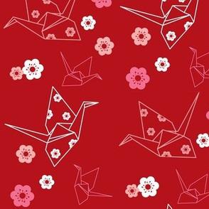 Origami Cranes - Red