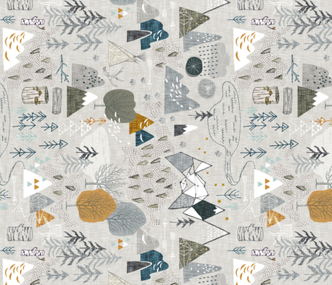 Max's Map (grey) RAILROAD fabric by nouveau_bohemian on Spoonflower - custom fabric