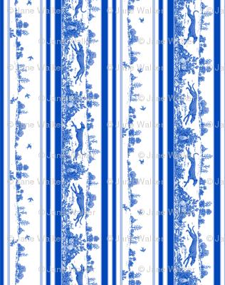 Blue Toile Greyhound Stripes