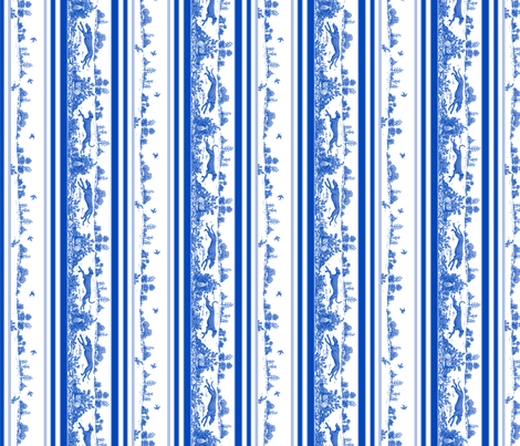 Blue Toile Greyhound Stripes  fabric by artbyjanewalker on Spoonflower - custom fabric