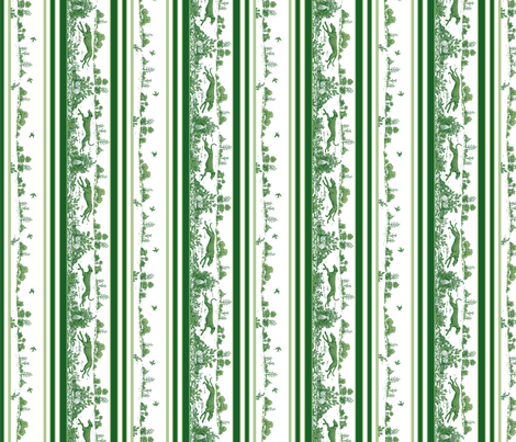 Green Toile Greyhounds fabric by artbyjanewalker on Spoonflower - custom fabric