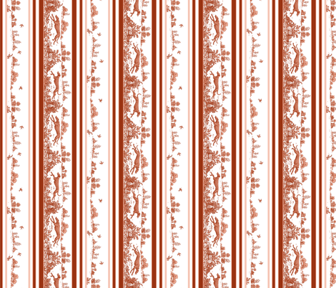 Red Toile Stripe with greyhounds fabric by artbyjanewalker on Spoonflower - custom fabric