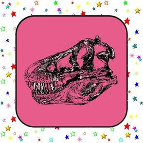 Bohemian Dinosaur   Vintage T-Rex Skull on Pink, Cheater Quilt Blocks
