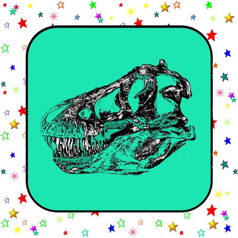 Bohemian Dinosaur |  Vintage T-Rex Dinosaur Skull on Green, Rainbow Starfield on White, Cheater Quilt Blocks fabric by bohobear on Spoonflower - custom fabric