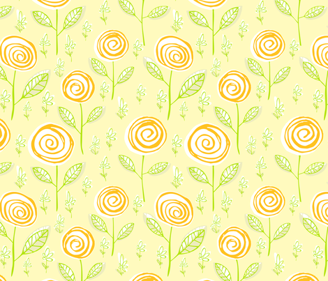 Lemony swirl blossoms (floral candy) fabric by kittenstitches on Spoonflower - custom fabric