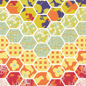 Horizontal Floral Hex Cheater Quilt Chevrons