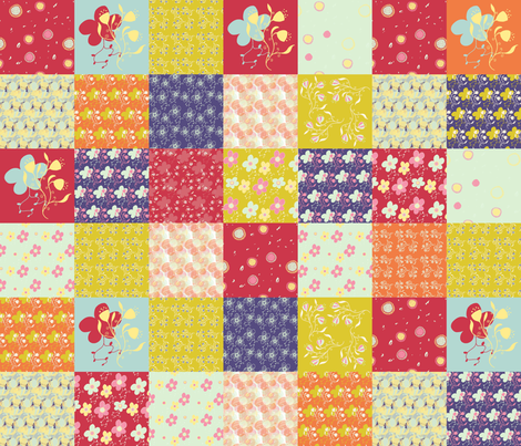 Twirling Florals Cheater Quilt fabric by tasha_goddard_designs on Spoonflower - custom fabric