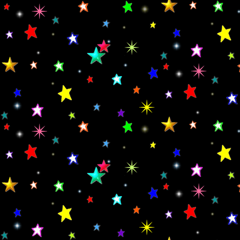 Bright Colorful Stars on Black fabric by bohobear on Spoonflower - custom fabric