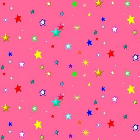 Bright Rainbow Starfield on Strawberry Pink fabric by bohobear on Spoonflower - custom fabric