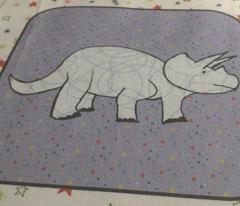Bohemian Dinosaur |  Triceratops on Purple Starfield Cheater Quilt Block