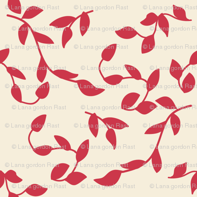 Spring Cheater Quilt Red Leaves