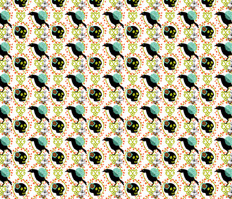 crows & skulls fabric by skellychic on Spoonflower - custom fabric